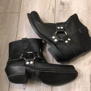 Shoes - Black Leather Moto HH boots